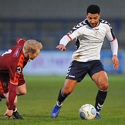TELFORD COPYRIGHT MIKE SHERIDAN 5/1/2019 - Ellis Deeney of AFC Telford takes on Jamie Chandler during the Vanarama Conference North fixture between AFC Telford United and Spennymoor Town.