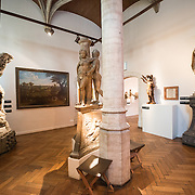 Statues and paintings on display at the Museum of the City of Brussels. The museum is dedicated to the history and folklore of the town of Brussels, its development from its beginnings to today, which it presents through paintings, sculptures, tapistries, engravings, photos and models.