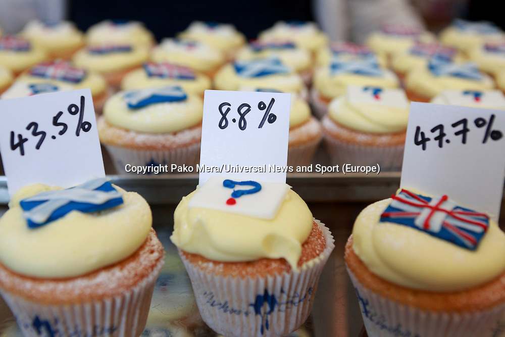 A general view represented on cupcakes of the percentage, a day before of the Scottish Referendum. Cupcakes referendum photocall to take place. Cuckoo's bakery has been selling Yes, No and undecided cupcakes since March .<br /> Pako Mera/Universal News And Sport (Europe) 17/09/2014