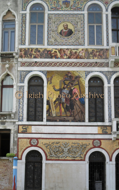 Palazzo Salviati, Venice. Along the Grand Canal various palces and homes were built from 16th to 19th Century. This palace was a 19th century residence covered with glass mosaics depicting the life and commrece of Venice.