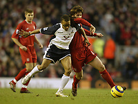 Photo: Aidan Ellis.<br /> Liverpool v Tottenham Hotspur. The Barclays Premiership.<br /> 14/01/2006.<br /> Spurs Edgar Davids battles with Liverpool's Xabi Alonso