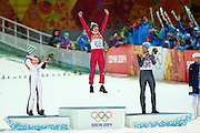 """(L-R) Peter Prevc (SLO), Kamil Stoch (POL), Anders Bardal (NOR),<br /> FEBRUARY 9, 2014 - Ski Jumping : <br /> Men's Individual Normal Hill <br /> at """"RUSSKI GORKI"""" Jumping Center <br /> during the Sochi 2014 Olympic Winter Games in Sochi, Russia. <br /> (Photo by Yohei Osada/AFLO SPORT)"""