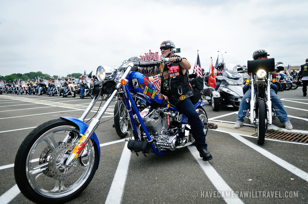 A rider on a chopper participating in the annual Rolling Thunder motorcycle rally through downtown Washington DC on May 29, 2011. This shot was taken as the riders were leaving the staging area in the Pentagon's north parking lot, where thousands of bikes and riders had gathered.