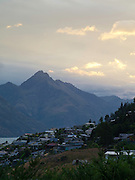 View from Frankton, Otago, New Zealand toward Mount Turnbull, dusk.