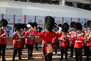 Royal marching band entertaining the crowd during the Rugby World Cup Pool D match between Ireland and Italy at the Queen Elizabeth II Olympic Park, London, United Kingdom on 4 October 2015. Photo by Matthew Redman.