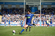 Stefan Ratchford of Warrington Wolves kicks the goal against Hull Kingston Rovers during the Betfred Super League match at the Halliwell Jones Stadium, Warrington<br /> Picture by Stephen Gaunt/Focus Images Ltd +447904 833202<br /> 14/04/2018