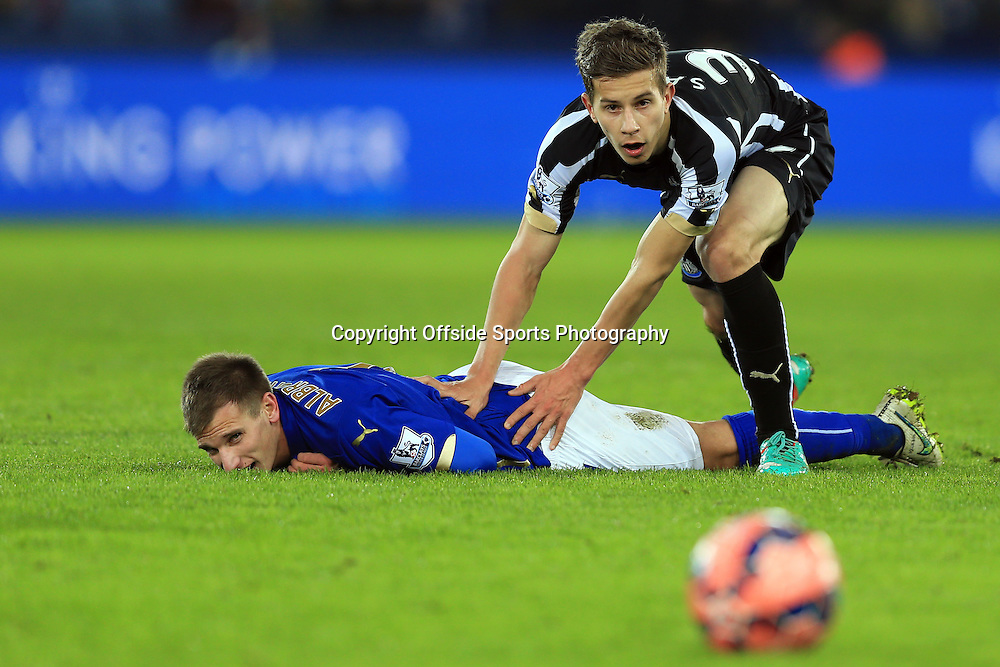 3 January 2015 - The FA Cup 3rd Round - Leicester City v Newcastle United - Marc Albrighton of Leicester City is fouled by Lubomir Satka of Newcastle United - Photo: Marc Atkins / Offside.