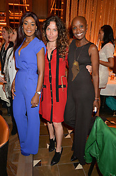 Left to right, PHOEBE VELA-HITCHCOX, TIFFANY PERSONS and TARA SMITH at the Cash & Rocket Tour Announcement Launch Lunch in association with McArthur Glen was held at The Grill, The Dorchester, Park Lane, London on 12th March 2015.