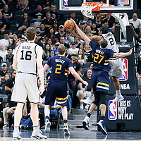 02 April 2017: San Antonio Spurs forward Kawhi Leonard (2) is blocked by Utah Jazz center Rudy Gobert (27) during the San Antonio Spurs 109-103 victory over the Utah Jazz, at the AT&T Center, San Antonio, Texas, USA.