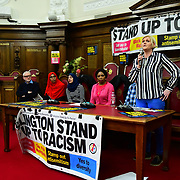 Speaker Margaret Holmes, partner of Christopher currently facing deportation at the  Stand Up To Racism  hosts Challenging the hostile environment and racism will democracy breaking its own law with Jeremy Corbyn labelling Brexit European  stealing job, Migrant rapist, Muslim terrorists, Muslim Grooming, African/Black is a criminal or rapist, Chinese the #coronavirus and let the refugees drown at Islington Town Hall on 6 March 2020, London, UK.