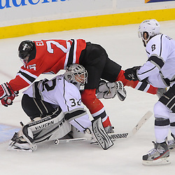 June 2, 2012: New Jersey Devils center Patrik Elias (26) runs into Los Angeles Kings goalie Jonathan Quick (32) during third period action in game 2 of the NHL Stanley Cup Final between the New Jersey Devils and the Los Angeles Kings at the Prudential Center in Newark, N.J. The Kings defeated the Devils 2-1 in overtime.