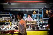 DUBAI, UAE - DECEMBER 18, 2015: Asian live cooking station at the Saffron restaurant, West Tower, Atlantis The Palm, The Palm Jumeirah.