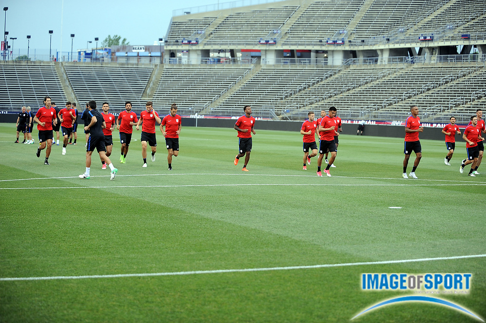 June 30, 2017; East Hartford, CT, USA; General view of United States men's national team training session at Rentschler Field. Photo by Reuben Canales