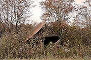This old wooden building just north of Hancock, Michigan, has succumbed to the ravages of old age, and the winter snow load. Given that the average winter snowfall here is over 15 feet, it's amazing that this structure still stands at all.