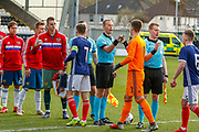 Teams are ready for action and shake hands with the the officials during the U17 European Championships match between Scotland and Russia at Simple Digital Arena, Paisley, Scotland on 23 March 2019.