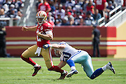 San Francisco 49ers quarterback Blaine Gabbert (2) slips through a Dallas Cowboys tackle at Levis Stadium in Santa Clara, Calif., on October 2, 2016. (Stan Olszewski/Special to S.F. Examiner)