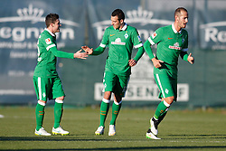09.01.2015, Hotel Regnun Carya, Belek, TUR, FS Vorbereitung, Fussball Testspiel, SV Werder Bremen vs FC Energie Cottbus, im Bild Winterneuzugang Levin Oeztunali (SV Werder Bremen #11) beim Torjubel nach dem Treffer zum 1:0 durch Zlatko Junuzovic (SV Werder Bremen #16 - rechts) // during a international football frindly match between SV Werder Bremen vs FC Energie Cottbus at the Hotel Regnun Carya in Belek, Turkey on 2015/01/09. EXPA Pictures © 2015, PhotoCredit: EXPA/ Eibner-Pressefoto/ Schueler<br /> <br /> *****ATTENTION - OUT of GER*****