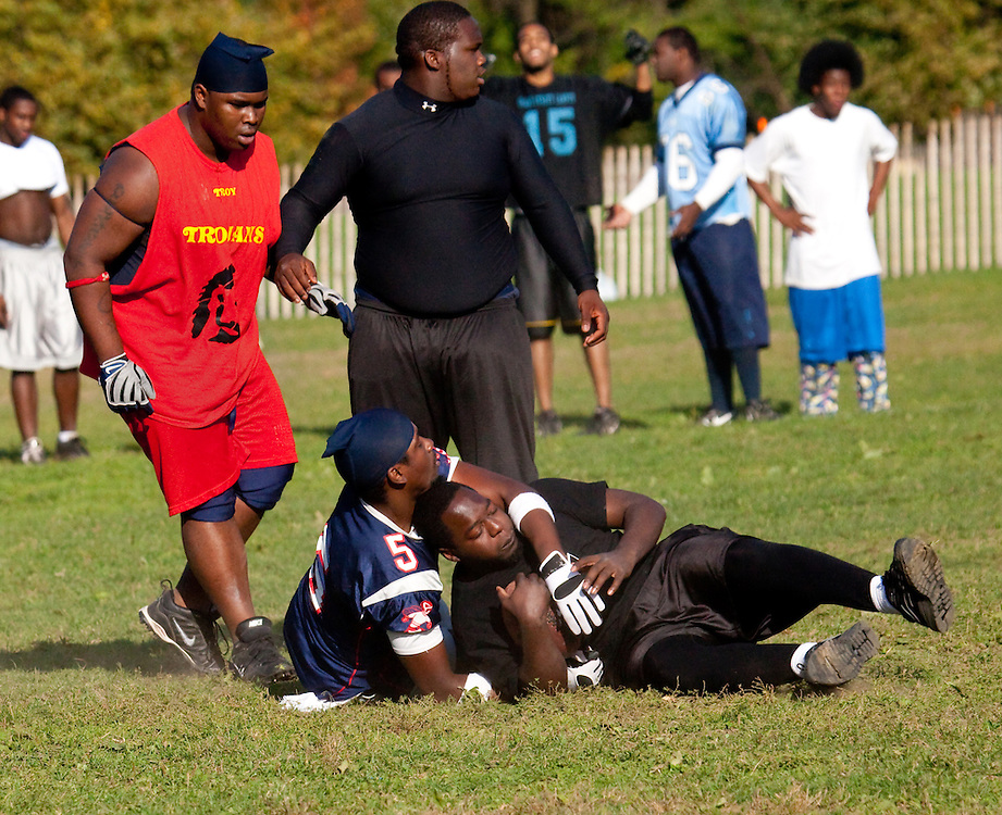 "Last of four. A pickup football game in Prospect Park. It had to be one of the roughest ""games"" I ever saw. Guys would be hurt or even crippled after each play. They as a result took minutes, even longer between each play. Don't know if they ever finished so many guys got hurt."
