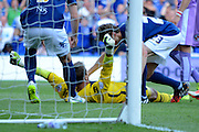 Tomasz Kuszczak celebrates after saving injury time penalty during the Sky Bet Championship match between Birmingham City and Reading at St Andrews, Birmingham, England on 8 August 2015. Photo by Alan Franklin.