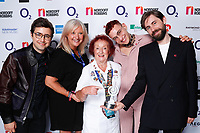 Years and Years pose backstage during the  O2 Silver Clef Awards 2019, Grosvenor House, London, UK, Friday 05 July 2019<br /> Photo JM Enternational