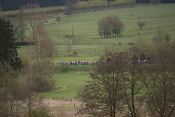 The peloton approaches Goronne during the Liege-Bastogne-Liege Femmes - a 135.5 km road race, between  Bastogne and Ans on April 23, 2017, in Liege, Belgium.