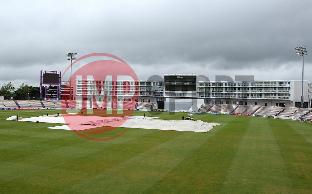 Dark clouds over the Ageas Bowl ahead of play on Day Two of the match between Hampshire and Somerset - Photo mandatory by-line: Robbie Stephenson/JMP - Mobile: 07966 386802 - 22/06/2015 - SPORT - Cricket - Southampton - The Ageas Bowl - Hampshire v Somerset - County Championship Division One