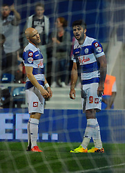 Queen Park Rangers' Andy Johnson and Charlie Austin looks dejected after their goal is disallowed  - Photo mandatory by-line: Seb Daly/JMP - Tel: Mobile: 07966 386802 27/08/2013 - SPORT - FOOTBALL - Loftus Road - London - Queens Park Rangers V Swindon Town -  Capital One Cup - Round 2