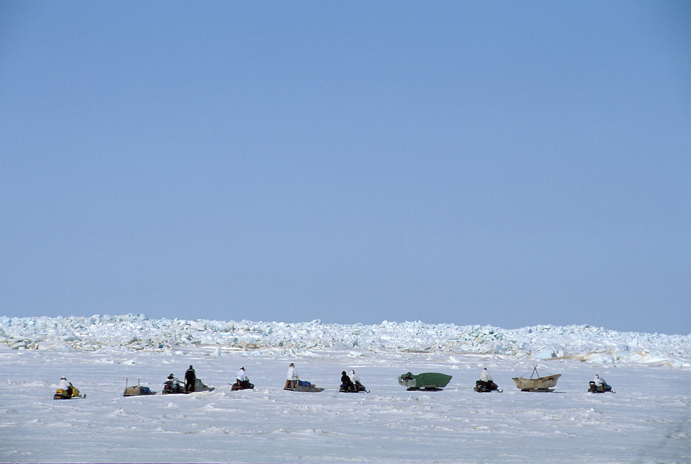 Barrow, Alaska, A crew of native whalers leave Barrow for their camp on the edge of the frozen sea. From Camp they will spot and hunt Bowhead whales in the open water.