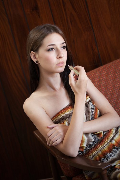 Model Jessica Brunmeier sat for 1970's influence art collection by Lucky Wenzel