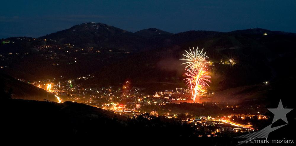 Independence Day 2005 fireworks above Park City Mountain Resort, Park City, Utah, USA