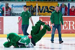 Official mascot of HDD TIlia Olimpija dragon Hoki during ice-hockey match between HDD Tilia Olimpija and HK Acroni Jesenice in second game of Final at Slovenian National League, on April 3, 2011 at Hala Tivoli, Ljubljana, Slovenia. (Photo By Matic Klansek Velej / Sportida.com)