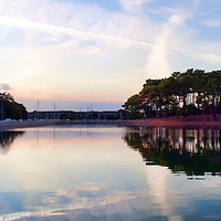 Lagoon at Conleau island, town of Vannes, departament of Morbihan, region of Brittany, France. High resolution panorama.
