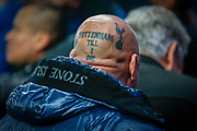 Tottenham Hotspur football fan, football supporter sporting a loyal Tottenham head tattoo during the Champions League match between Tottenham Hotspur and Red Star Belgrade at Tottenham Hotspur Stadium, London, United Kingdom on 22 October 2019.