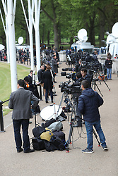 May 4, 2017 - London, London, United Kingdom - Image ©Licensed to i-Images Picture Agency. 04/05/2017. London, United Kingdom. Media from around the world outside  at Buckingham  Palace in Lindon after the announcement that the Duke of Edinburgh will retire from public duties .Picture by Stephen Lock / i-Images (Credit Image: © Stephen Lock/i-Images via ZUMA Press)