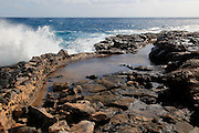 Coastline at Museo de la Sal, Salt museum, Las Salinas del Carmen, Fuerteventura, Canary Islands, Spain