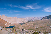 High angle view over Lake Marjorie from Pinchot Pass. John Muir Trail/Pacific Crest Trail; Sequoia Kings Canyon Wilderness; Kings Canyon National Park; Sierra Nevada Mountains, California, USA.