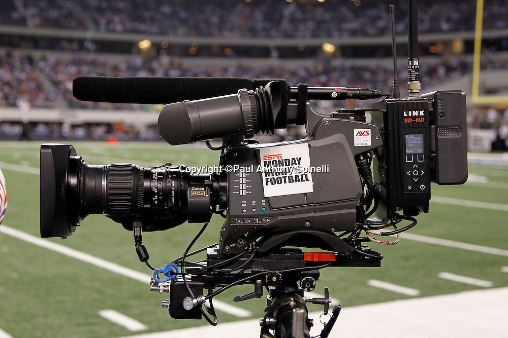 An television broadcasting camera sports an ESPN Monday Night Football sign prior to the Dallas Cowboys NFL week 7 football game against the New York Giants on Monday, October 25, 2010 in Arlington, Texas. The Giants won the game 41-35. (©Paul Anthony Spinelli)