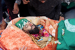 October 14, 2017 - Shopain, Jammu And Kashmir, India - Thousands of people on 14th September,2017 participated in the funeral prayers of Lashkar-e-Toiba commander Wasim Shah alias Usama at Heff area of south Kashmirs Shopian district some 60 kilometers from summer capital of Indian occupied Kashmir. Shah was killed with his comrade Naseer Mir on Saturday in an gunfight with government forces in south Kashmirs Pulwama district (Credit Image: © Aasif Shafi/Pacific Press via ZUMA Wire)