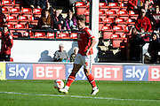 Tom Bradshaw chips in the second goal during the Sky Bet League 1 match between Walsall and Doncaster Rovers at the Banks's Stadium, Walsall, England on 12 September 2015. Photo by Alan Franklin.