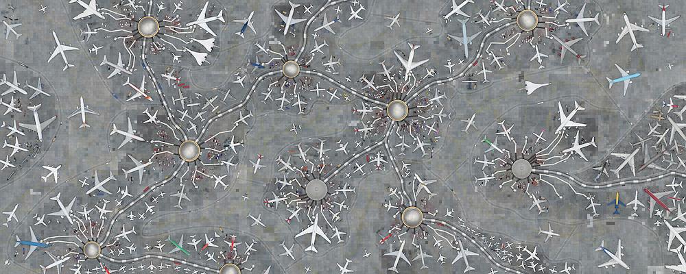 Aeroporto imaginario construido a partir de milhares de fotografias aereas feitas em diversos aeroportos do Brasil e Estados Unidos