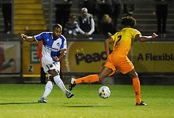 Jermaine Easter of Bristol Rovers gets a shot away - Mandatory byline: Neil Brookman/JMP - 07966 386802 - 06/10/2015 - FOOTBALL - Memorial Stadium - Bristol, England - Bristol Rovers v Wycombe Wanderers - JPT Trophy