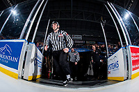 KELOWNA, CANADA - FEBRUARY 7: Linesman, Tim Plamondon enters the ice at the Kelowna Rockets against the Vancouver Giants  on February 7, 2018 at Prospera Place in Kelowna, British Columbia, Canada.  (Photo by Marissa Baecker/Shoot the Breeze)  *** Local Caption ***