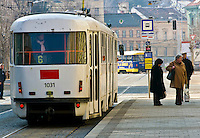 BRNO, CZECH REPUBLIC - MARCH 5th 2011: Photo of Jostova street in Brno, with locals in tram. Brno is the 2nd largest city in the Czech Republic. EDITORIAL USE ONLY.
