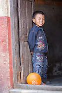 Smiling boy with balloon, Kathmandu.