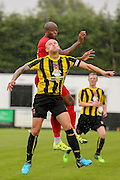 Danny Ellis & Anthony Straker during the Friendly match between Harrogate Town and York City at Wetherby Road, Harrogate, United Kingdom on 25 July 2015. Photo by Simon Davies.
