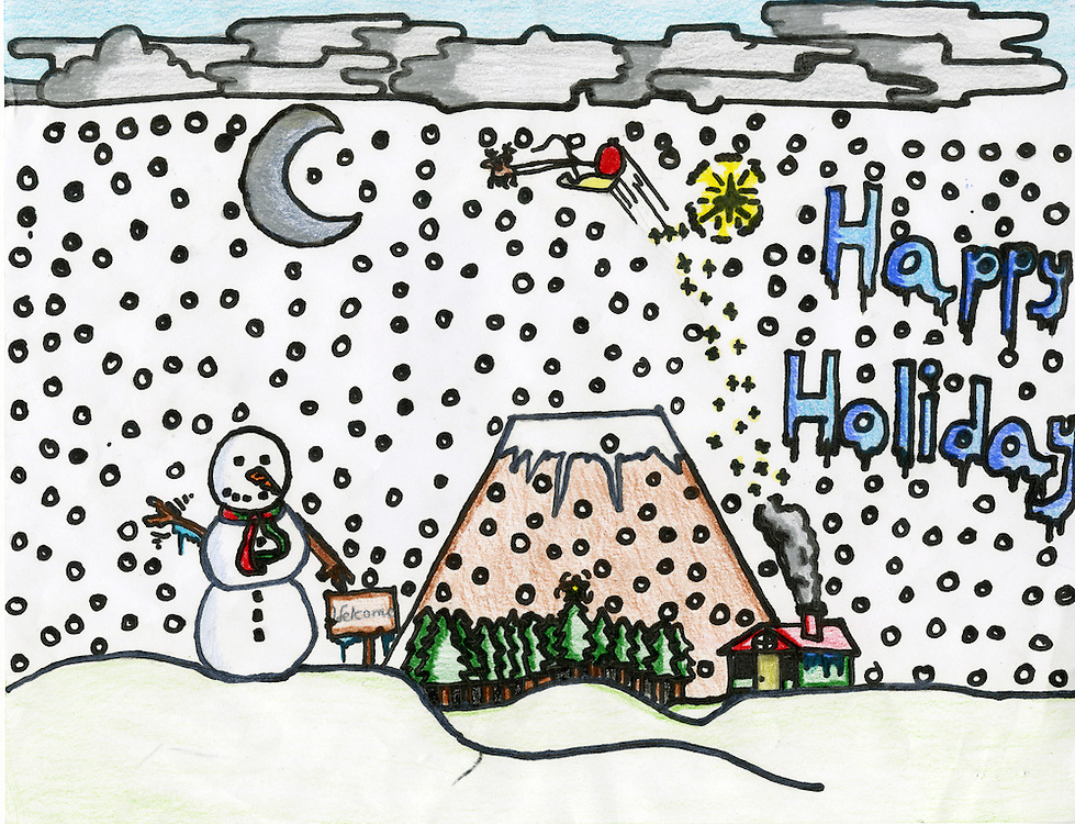 Holiday card designed by Fabian Costilla of Alcott Elementary School.