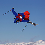 Chris laker, USA, in action in the Slopestyle Finals during The North Face Freeski Open at Snow Park, Wanaka, New Zealand, 2nd September 2011. Photo Tim Clayton...