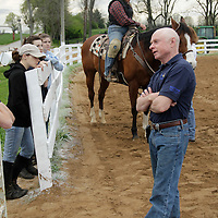 Hall of Fame jockey and instructor at the North American Racing Academy Chris McCarron explains to his students the nuances of the starting gate during morning classes on the grounds of the Thoroughbred Center in Lexington, Ky., on Friday, March 23, 2012.  Photo by David Stephenson
