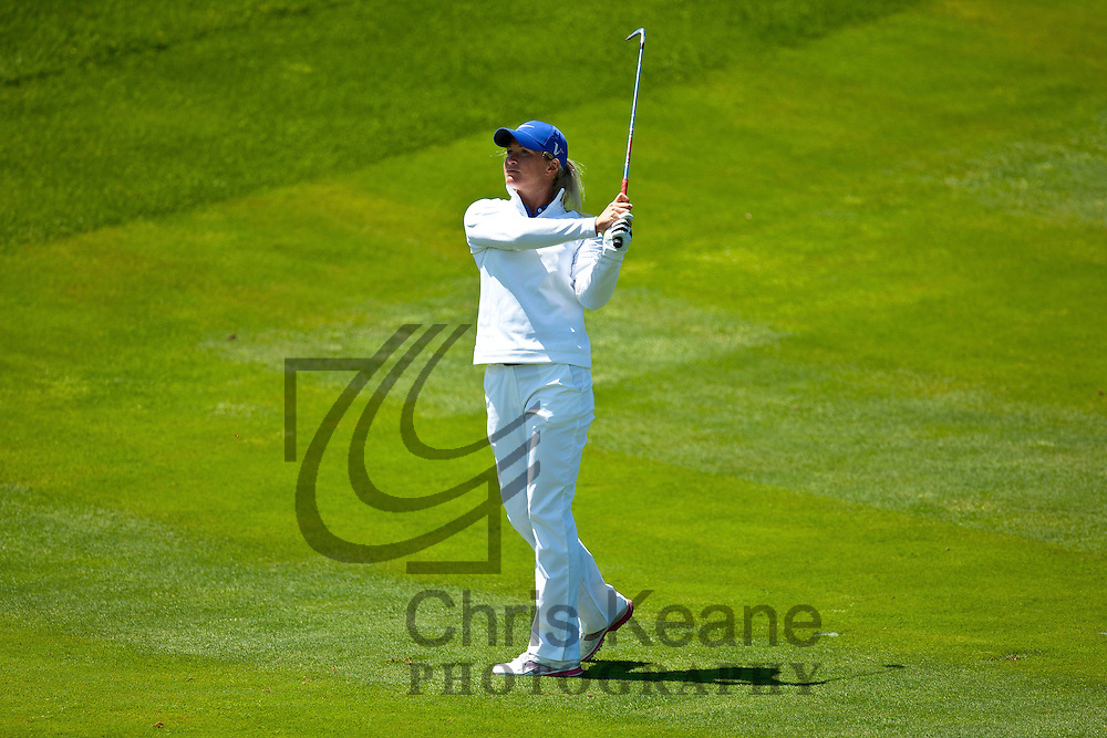 17 May 2012: Suzann Pettersen watches her approach shot on 14 during the first round of match play at the Sybase Match Play Championship at Hamilton Farm Golf Club in Gladstone, New Jersey on May 17, 2012.