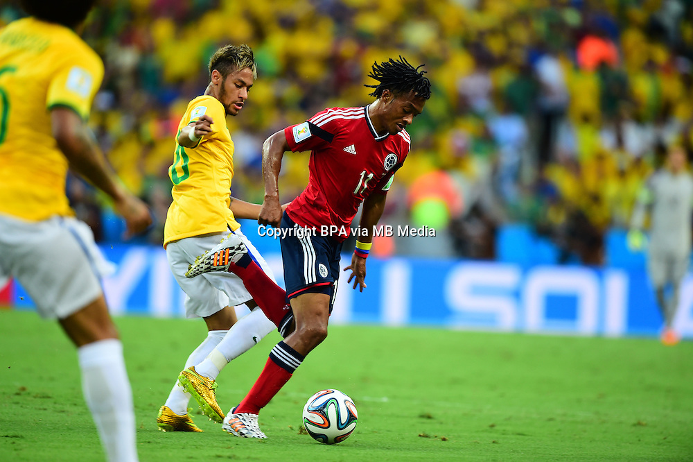 Juan Cuadrado. Brazil v Colombia, quarter-final. FIFA World Cup Brazil 2014. Castelao stadium, Fortaleza. 4 July 2014.